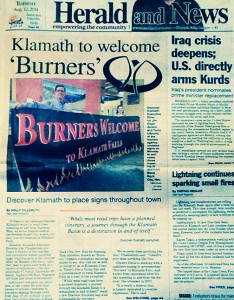 Herald Article Klamath to Welcome Burners